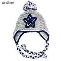 baby football hat - Cowboys Football Team Hat Handmade Knit Crochet Baby Boy Girl Twins Grey and Pink Earflap Cap Infant Toddler Photography Prop Shower Gifts