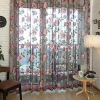 Wholesale Romantic Floral Tulle Voile Door Window Curtain Screens Scarf Valances Window Decor