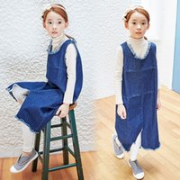 blue jean skirts - Korean Style Children Clothes Parent Child Garments Girls Sleeveless Sanding Denim Dress Fashion Vest Jean Skirts New Girl s Dresses