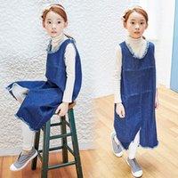 Vestidos estilo coreano ropa de los niños de Padres Las prendas de vestir Niño Niñas mangas lijado vestido de dril de algodón de la manera del chaleco de Jean Faldas de la nueva muchacha 9431
