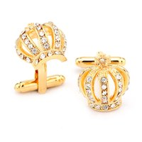 Wholesale 10pairs Square Facet Solid Austrial Crystal Wedding Cuff Links Mens Luxury Suit Dress Cufflinks Crown Diamond