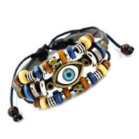 achat en gros de amitié réglable-Mode Hot Vivid cuir Evil Eye Bracelets Perles main Multilayer Charm Bracelets réglable Bracelet d'amitié pour les hommes des femmes Bijoux