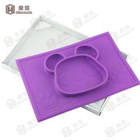 baby custom shapes - One Piece Baby Placemat BPA Free Dinner Plates Silicone Baby Table Placemats Panda Shape with Custom Colors For F023