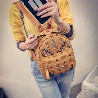 Wholesale Women s Bag New South Korean Rivet Backpack Leather Printing Backpack School Bags Travel Backpacks