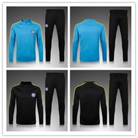 Wholesale 2016 Men MancHESTER Soccer Wear Sets Tracksuit Jogging Survetement Soccer Uniform Football Sweater Suit Blue Citys Sport training Kits