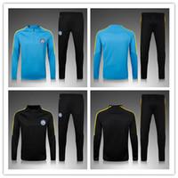 Wholesale 2016 Men MancHESTER Tracksuit Soccer Uniform Jogging Survetement Soccer Wear City Football Sweater Suit Blue Sport training Kits