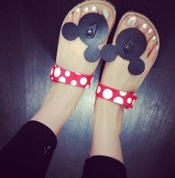 beach mouse - South Korea cute cartoon Mickey Minnie mouse women casual cork slippers holiday comfortable sandals summer cool flip flops