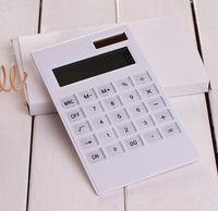 Wholesale Creative Slim Portable mini digital calculator Solar Energy crystal keyboard Dual power supply rekenmachine