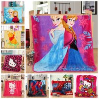 Wholesale Baby Superhero Avengers Blanket Spidermen Minions Frozen Mickey Blankets Princess Thomas Sofia Altman KT Pooh Stitch Cartoon Quilts D13