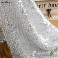 Wholesale CA080 cm Width ms Shinning Glitter Silver Black Choices Lace Fabric for Wedding Dress Clothing Accessories DIY Sequin Fabric
