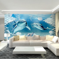 art deco moulding - 3D Underwater World Mural non woven wallpaper art deco interior large sharks and dolphins children s bedroom TV backdrop wall art free shi