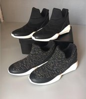 ash knit - Ash Slip On Hi top Sneakers Black Stretch Fabric Geometric Women s Ankle Boots Shoes Knitted Platform Flat Heel Casual Sport Shoes