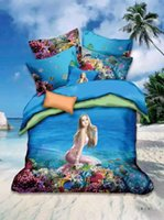 Wholesale 2016 D Beddings Children Mermaid Bedding Sets Duvet Covers Bedsheet Pillowcases Queen and King Size