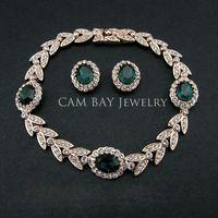 Wholesale Luxury Wedding Jewelry Earrings Bracelet Sets Environmental K Gold Plated Alloy Czech Rhinestone Austria Crystal Jewels
