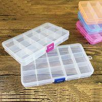 Wholesale High Quality Brand New Grids Transparent Adjustable Slots Jewelry Bead Organizer Box Storage plastic jewelry storage box