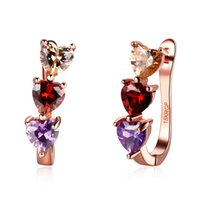 Wholesale New products listed women s jewelry fashion three color crystal heart rose gold earrings