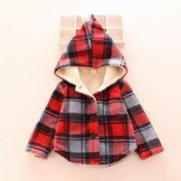 Las chaquetas ocasionales de los niños forman el patrón del cheque outwear Para las tapas largas de la manga del algodón de la sudadera con capucha del bebé para la ropa de los cabritos
