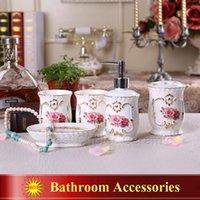 Wholesale Porcelain bathroom sets magnesia porcelain flowers design accessories bathroom sets bathroom sets pieces wedding gifts
