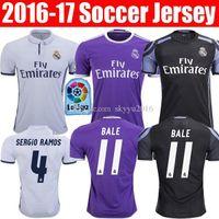 Wholesale 2016 real madrid soccer jerseys best thai quality real madrid home away rd RONALDO BENZEMA JAMES BALE RAMOS football shirts