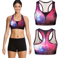 seamless bra - New Women Galaxy printing Sports Seamless Bras Fitness Stretch Workout Tank Top breast pad No rims Tube Tops