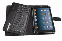 Wholesale New Universal inch PU Leather Bluetooth Keyboard With Case Support ios Android and Windows Operating System Tablet pc Free Ship