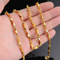 Wholesale ZHF JEWELRY Fashion K Real Yellow Gold Chain Luxury EU Man Never Fade Thick Necklace Vintage Men Jewelry