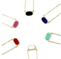 Wholesale 2016 Tiny Candy Choker Necklace Kendra Scott Cute Oval Pendant Necklaces Various Colors Hot Popular for Lady
