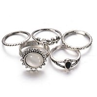Wholesale 5PCS SET Retro Personality Luxury Gold Opal Ring Cat Eye Women Ring Silver Jewelry Set fashion jewelry