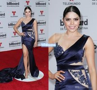 art deco music - Sexy Billboard Music Awards Red Carpet Gowns Navy Blue Applique V Neck Sleeveless Sexy Side Split Evening Gowns Long Celebrity Dresses