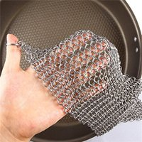 Wholesale 8 quot x quot Home Kitchen Tools Helper Ringer Cast Iron Cleaner Stainless Steel Chain Mail Decor Color Silver