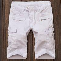 Cheap Wholesale-2016 New Summer Mens Casual Cotton Ripped Jeans Short Mens White Black Pants Denim Shorts Size 30-38