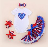 american flag outfits - baby girl infant toddler piece outfits US Independence Day American flag romper onesies satin pettiskirt tutu headband shoes set