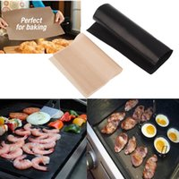 Wholesale BBQ GRILL MAT Barbecue Grilling Liner Teflon Non stick and Reusable Make Grilling Easy CM MM Black Oven Hot plate Liner
