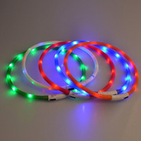 Wholesale Pets LED Collar Rechargeable USB Band Belt Adjustable Flashing Safety Pets