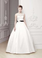 abc ball - Ball Gown Sleeveless Illusion Sweetheart Neckline With Sash Satin Abc Odina Enzoani Wedding Gowns Bridal Dresses