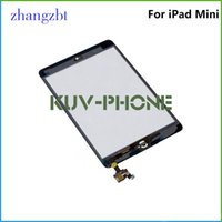 Wholesale For iPad mini Touch Screen Glass Digitizer Assembly with IC with Home Button Adhesive Glue Sticker Replacement Repair Parts Black White