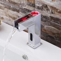 Wholesale Temperature control LED lamp mixed water faucet square shaped induction DC general basin faucet