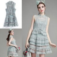 Wholesale Cheap Lace Graduation Dresses A Line High Neck Short Homecoming Dress Ruffles Sleeveless In Stock Mini Formal Party Cocktail Gowns
