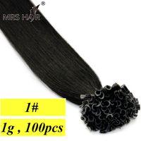 Wholesale 1 Jet Black Nail Tip Remy Hair Pre Bonded Hair Extensions g Jet Black Keratin Hair On Capsules quot quot quot