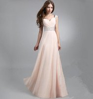 Wholesale In Stock Prom Dresses Under Chiffon Bridemaids Dresses Floor LengthWedding Party Gowns Portrait Cap Sleeves Beads Formal Dress L49
