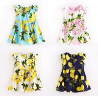active fruit - 8 Style Baby Print Lemon pineapple Fly sleeve Dresses Kids Girl Summer floral Dress girls Fashion cotton fruit love heart Dress with belt
