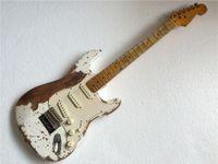 Wholesale Classical Aged ST guitar Single coil pickups electric guitar Alder body guitarra in stock handmade guitars