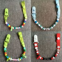 beard beads - Fashion Baby Pacifier Clip BPA Free Anti lost Beads Pacifier Clips For Dummies Beard Pacifier Holder Chains For Children