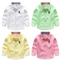 Wholesale New Boys Blouse Shirt Children Outerwear Cotton Kids Clothes Long sleeve High Quality Pink blue Fashion Formal polo Blouse