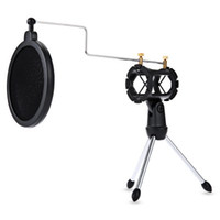 Wholesale 2016 New PS foldable Adjustable Desktop Tripod Studio Condenser Stand for Microphone with Windscreen Filter Cover
