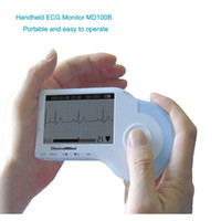 Wholesale Portable Handheld ECG EKG Heart Monitor Electrocardiogram Rapid ECG tester With CD lead Electrodes Cable Personal Care Healthy