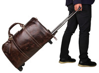 bag on wheels - 18 quot quot Men s Large Vintage Genuine Leather laptop Travel Wheeled Duffle hand luggage bag Carry On Rolling Duffel bags men