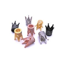 Wholesale 4 Color piece Micro Pave CZ Cubic Zirconia Crown Brass Metal Charms for Jewelry Bracelet DIY Making Spacer Bead