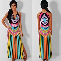 Wholesale 2016 Summer Dress Bohemian Women Traditional African Print Dashiki Bodycon Dress Sexy Halter Slim Irregular Stripe Dress Sexy Club