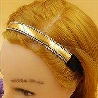 Wholesale 12pcs women lady s Blingbling Elastic sparkly Rhinestone Headband with gold color faux leather vintage Hairband Headdress Hair Band